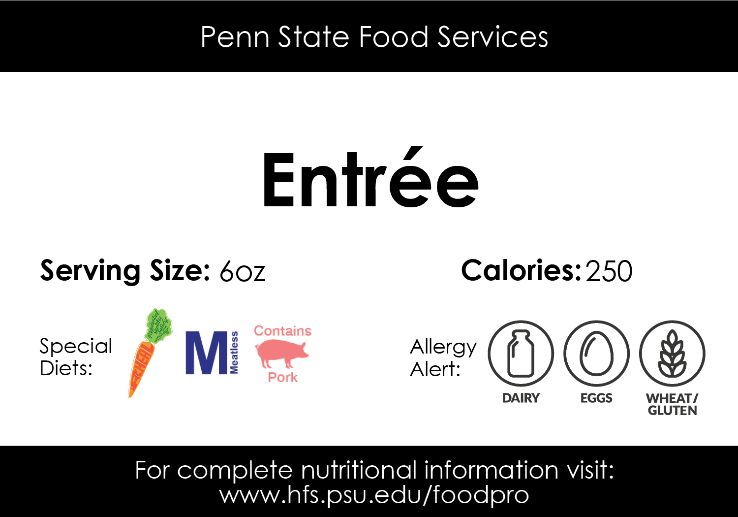 Sample entree card found at Penn State Food Services locations