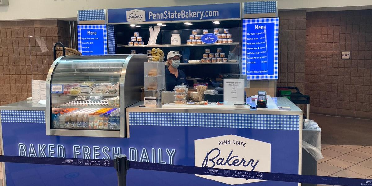 The Penn State Bakery has a fully stocked kiosk at the Bryce Jordan Center ready to serve free coffee along with a variety of ba